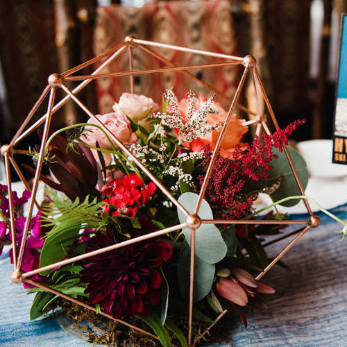 Geometric table decor for wedding table setting