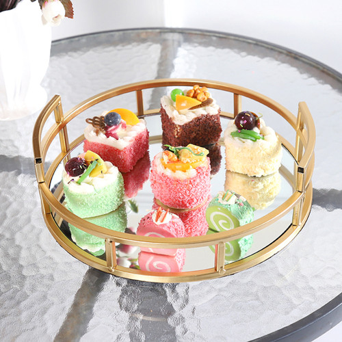 Gold Wedding Mirror Tray for Dessert & Beverages