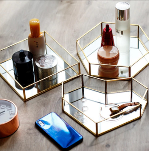 Nordic Retro Copper Mirror Tray Geometry Polygon Heart Jewelry Display Tray