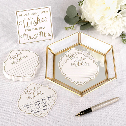 Geometric Gold  Mirrored Tray Holding Name Cards on Wedding