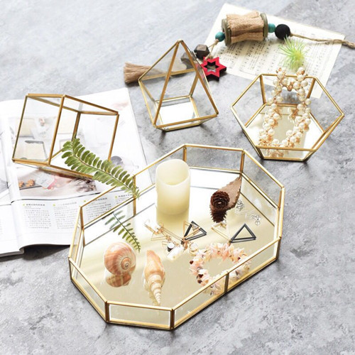 Irregular polygon Mirror Tray  Geometric Glass Tray for Wedding Events